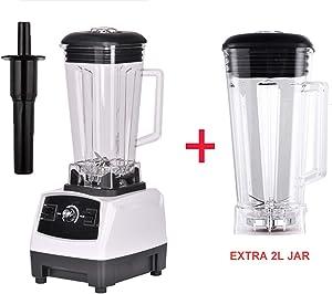 2200W Heavy Duty Professional Blender Mixer Juicer High Power Fruit Food Processor Ice Smoothie,white extra 2L jar,UK Plug