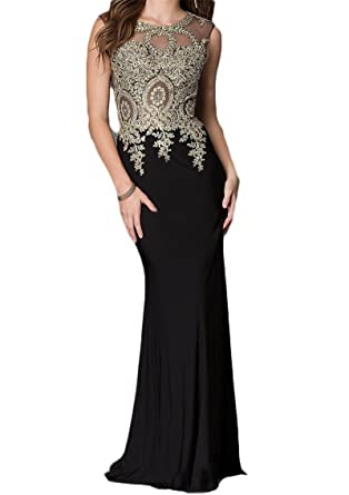 BaiYiYan Womens Mermaid Evening Party Dresses Gold Appliques Long Prom Dress B15 Black 2