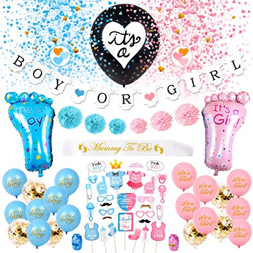 "(Gender Reveal Party Supplies Pack - 69 Pieces Gender Reveal Decorations | 36"" Gender Reveal Balloon Boy OR Girl Banner 