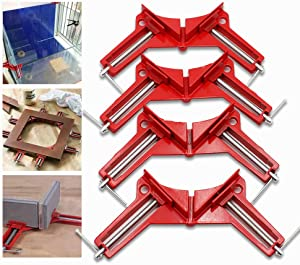 4pcs 90 Degrees Right Angle Clamp 4in Retaining Corner Clips for Woodworking Holder,Multifunction Aluminum Alloy Welding Tools