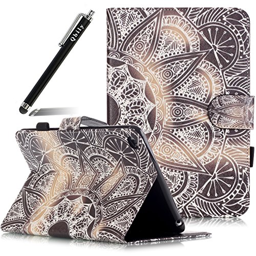 iPad Mini 1/2/3 Case Slot [Card Slots][Magnetic Closure] Flip PU Leather Wallet Case Book Case - Qbily Fashion Pattern with Bling Dust Plug & Pen-Gray Bottom Gossip Array