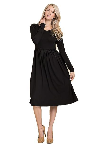 4dda9d729a SHOPGLAMLA Floral Print Long Sleeves Fit Flare Poly Spandex Midi Dress Fit    Flare -