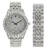 Mens Watch w/Matching Iced Out Bracelet Rolly Hip Hop White Gold Tone Look - Big Rhinestones on Trim and Elegant Baquette Time Indicators on Dial - Master Bling Designer - ST10226B Silver