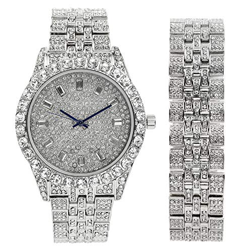 Mens Watch w/Matching Iced Look Bracelet Rolly Hip Hop White Gold Tone Look - Big Rhinestones on Trim and Elegant Baquette Time Indicators on Dial - Master Bling Designer - ST10226B Silver ()