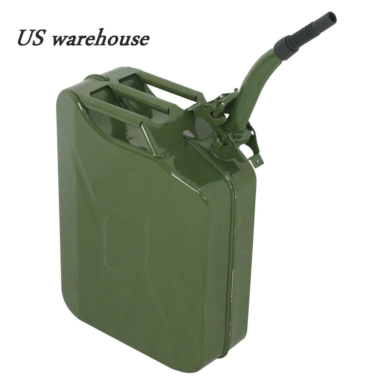 Teekland 2 pcs 5 Gallon 20L Metal Gas Tank Can (US Stardard) Gas Can Power Emergency Backup Tank with Flexible Spout Green (2)