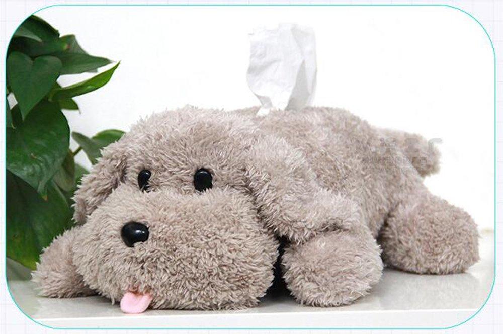 Animal Poodle Plush Tissue Box Dog Toy Paper Box Home Desk Bed Decor