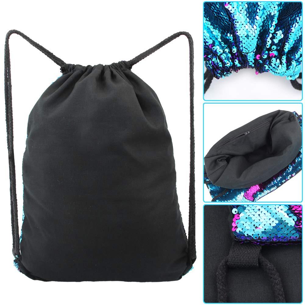 MHJY Mermaid Bag Sequin Drawstring Backpack Dancing Bag Fashion Dance Bag Sequin Backpack Flip Sequin Bling Bag for Beach Hiking Bags by MHJY (Image #6)