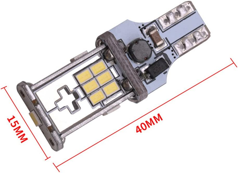 Pack of 2 TABEN 921 912 T15 W16W White 1200 lumens 12V-24V Extremely Bright Non-Polarity Canbus Error Free 3020 18pcs Chipsets LED Bulbs for Backup Reverse Lights Xenon White 6000K