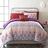 OSD 8pc Girls Color Bohoemian Comforter King Set, Tribal Aztec Southwestern Bedding, Purple Pink Blue Red Yellow Green Brown, Coloful Boho Chic Ikat Southwest Tribe Themed Pattern