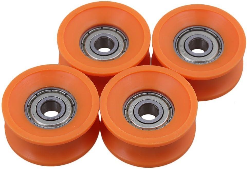 sgerste 4pieces 6x 30x 13mm Rodamientos sellados con revestimiento de plástico acero 606ZZ profundo U Guía Groove Pulley Rail bola rodamiento rueda naranja