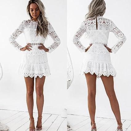 Vestidos mujer casual,Encaje de las mujeres de manga larga cóctel fiesta mini vestido LMMVP (L, Blanco): Amazon.es: Hogar