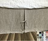 Tailored Pleated Linen Bed Skirt with Ties, Multiple Colors to Choose