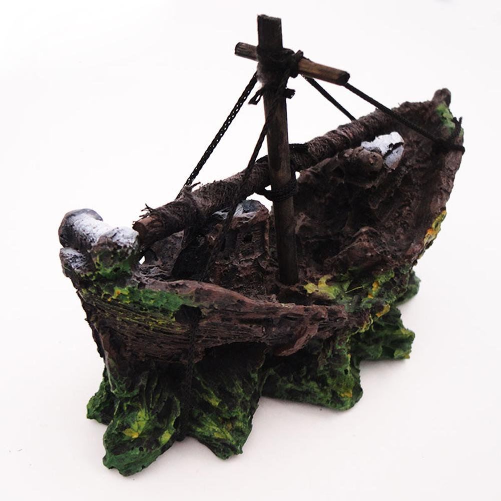 SSQ-CXO Barco Pirata Acuario Acuario decoración del Paisaje del Tanque para Evitar la casa de la Resina Hueca Decoración: Amazon.es: Hogar