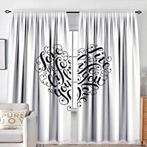 "NUOMANAN Window Curtains Love,Inspiring Quotes in Heart Shape Positive Vibes Valentines Day Romance,Dark Coral Black White,Fashionable Illustration Customized Curtain 54""x84"""