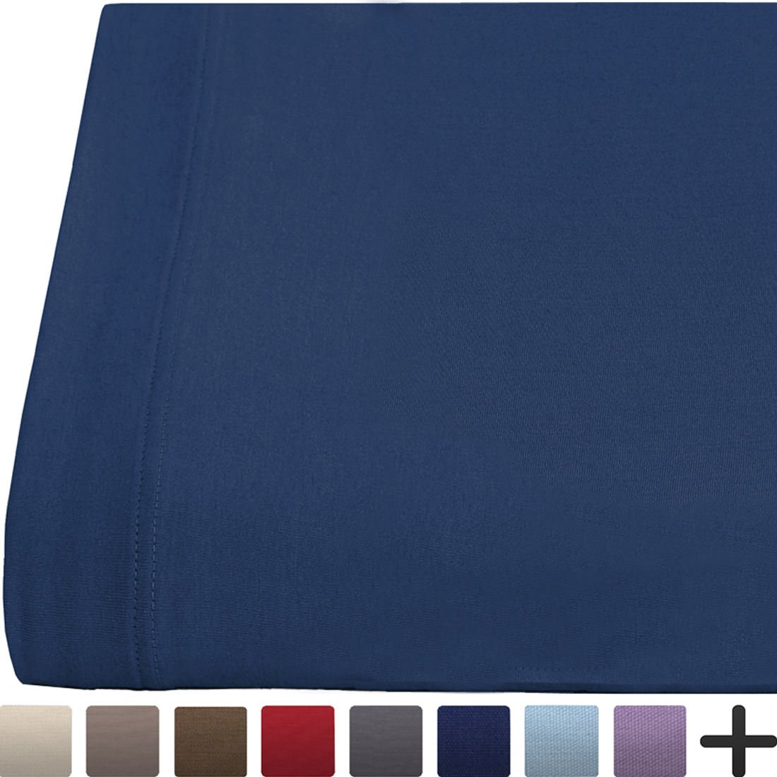 Flat Top Sheet Super Soft Jersey Knit Cotton - All Season Bed Sheets - Cozy - Breathable - Easy Care (Twin XL, Dark Blue)