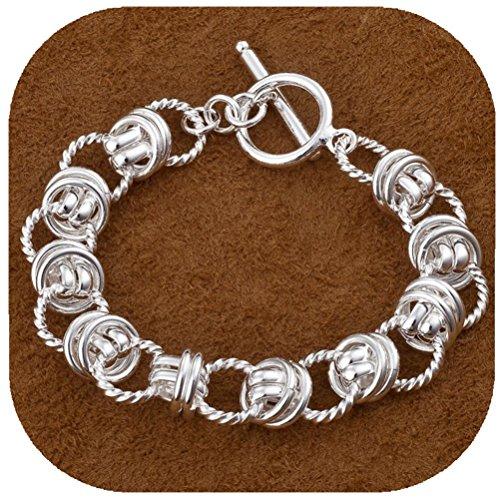 IVYRISE Fashion New Charm 925 Jewelry Silver Interlocking Chain Bracelet Bangle