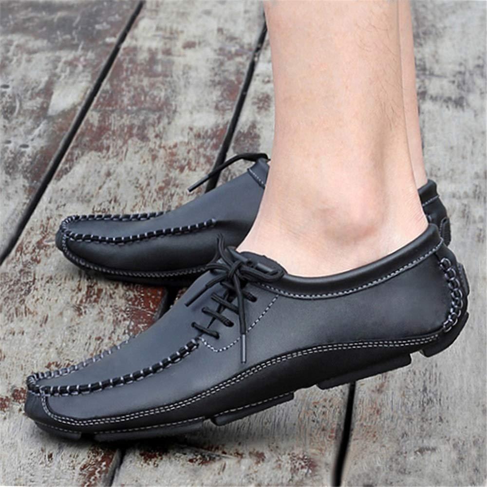 Qiusa Klassische Schnürschuhe Rutschfeste für Männer Breathable beiläufige Rutschfeste Schnürschuhe weiche Sohle Runde Zehe Schuhe (Farbe : Grau, Größe : EU 44) Schwarz e86053