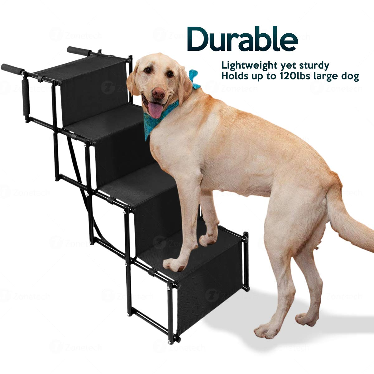 Premium Quality Lightweight Portable Adjustable Metal Frame Folding Ramp Stairs Perfect for Any Size of House Pets Zone Tech Car Pet Foldable Step Stair