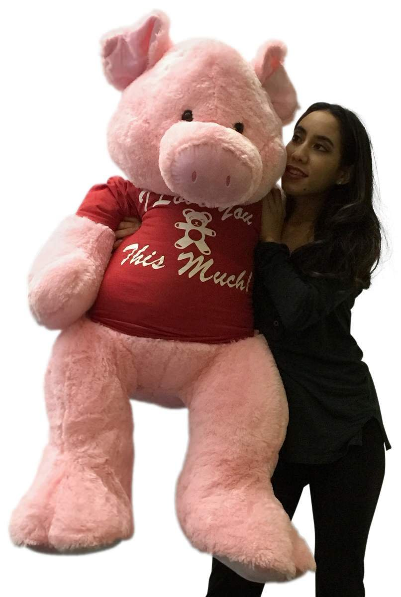 Giant Stuffed Pig 48 Inch Soft 4 Foot Pink Plush, Wears Tshirt I Love You This Much