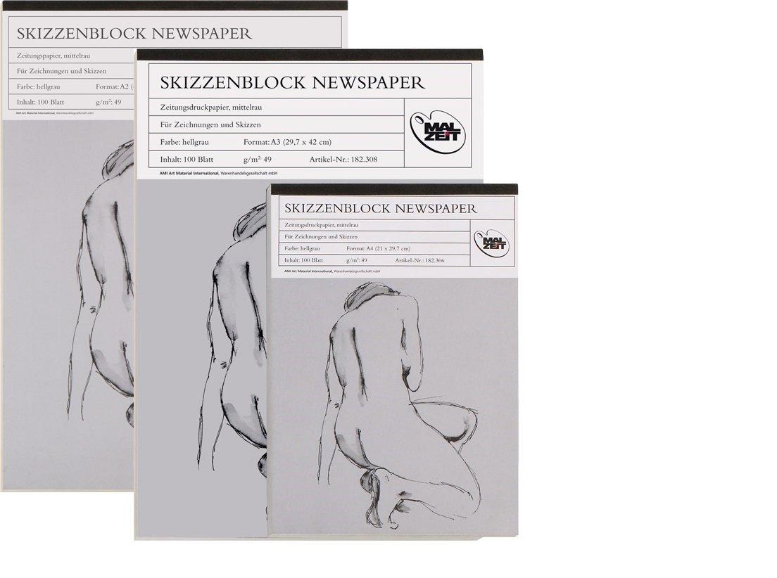 Schizzi block News Paper - DIN A4 - 100 fogli - 49 G/m² Malzeit