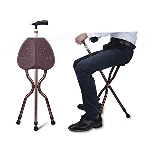G&M Adjustable Folding Walking Cane Chair Stool Massage Walking Stick with Seat Portable Fishing Rest Stool with LED Light for Elder
