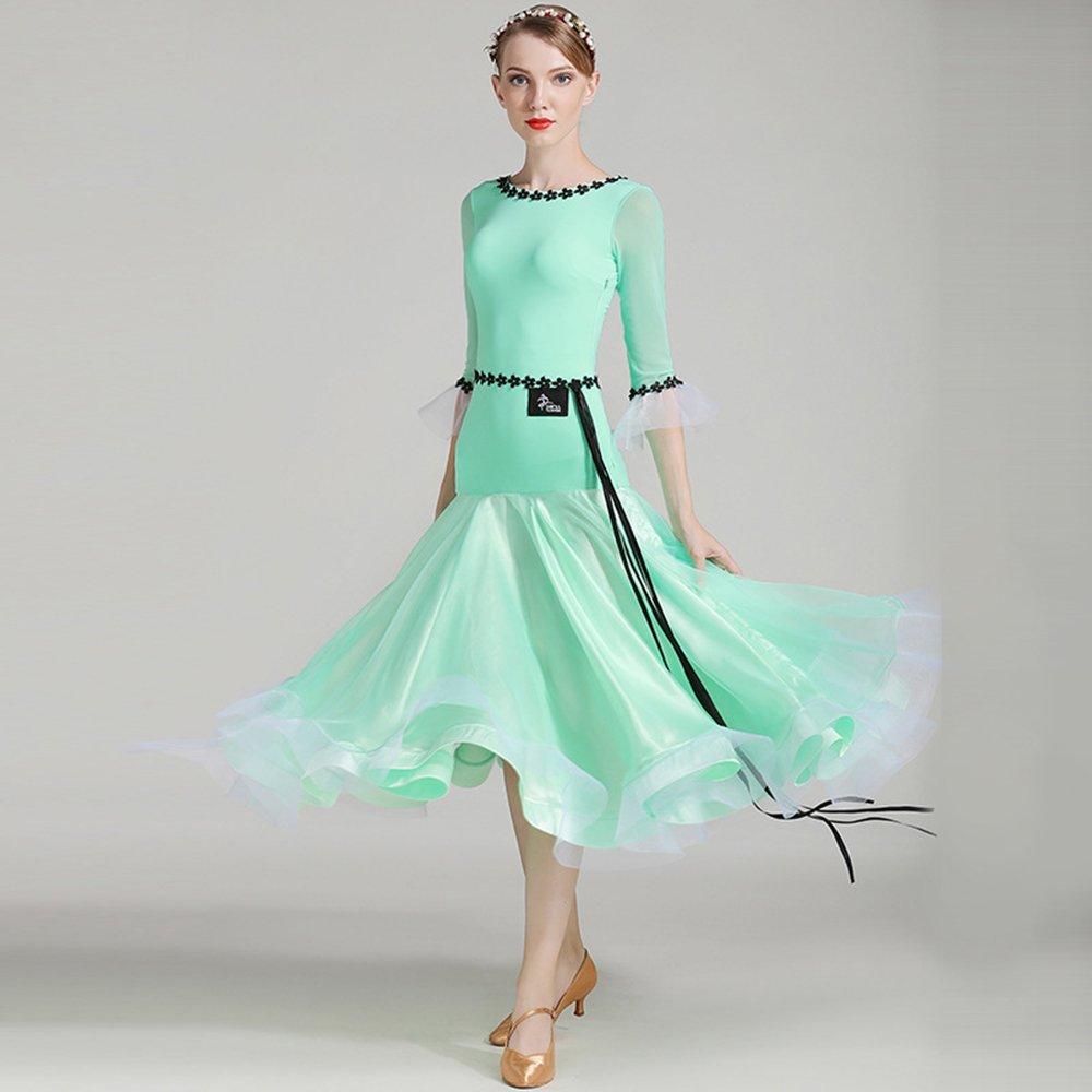 現代の女性大きな振り子氷フィラメント長袖モダンダンスドレスタンゴとワルツダンスドレスダンスコンペティションスカートホーンネットスリーブダンスコスチューム B07HHNHYTD XXL|Green Green XXL