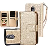 TabPow LG Stylo 3 Case, 10 Card Slot - ID Slot, Button Wallet Folio PU Leather Case Cover With Detachable Magnetic Hard Case For LG Stylo 3/ LG Stylo 3 Plus -Gold
