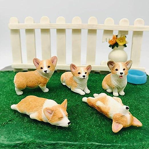 Pack of 5 Corgi Figurine Toy Corgi Cake Topper Mini Black