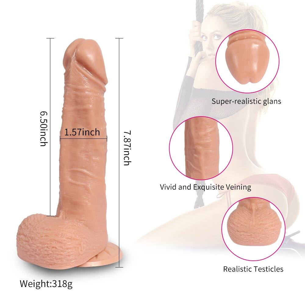 FLJUN Consolador de silicona de doble capa exterior puro suave exterior capa y firme pene interno fuerte lechón réplica de pene real, 20 cm de largo Ø4 cm (piel) 33c1b2