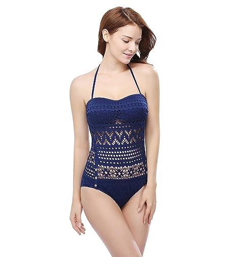 9827d19af218 Surenow Mujer Bañador de Una Pieza Trajes de Baño Bikini Crochet para Playa