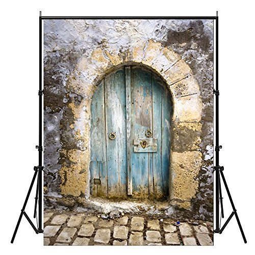 - 2-3 Business Days FAST Delivery Vinyl Cloth Blue Wooden Fan-shaped Door Stone Floor Studio Photo Photography Background Studio Backdrop Props best for Personal Photo, Wall Decor, 5x7ft