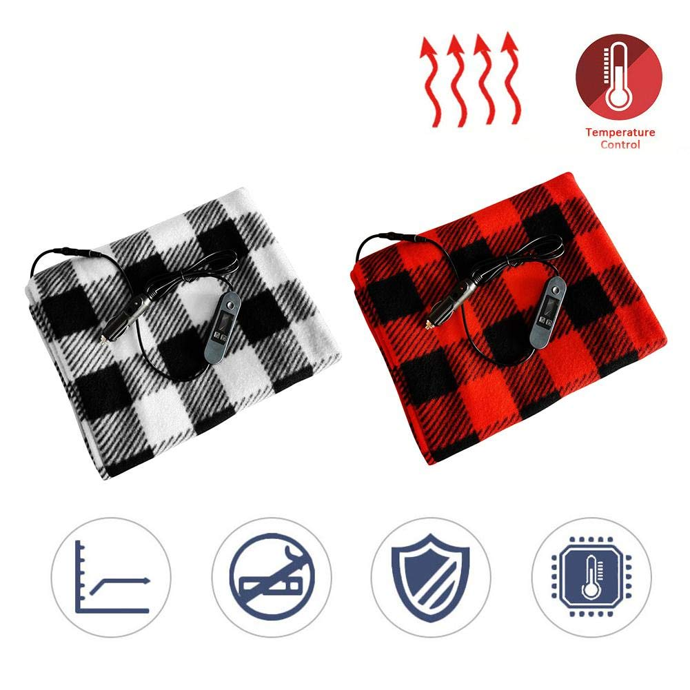Amasstu Electric Car Blanket 100 X 60CM 12V Heated Fleece Travel Throw Timing Heating Blanket with Intelligent Temperature Control for Cold Weather Traveling Camping
