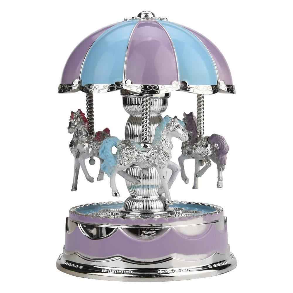 Onefa Merry-Go-Round Music Box, Christmas Birthday Gift Carousel Music Box (Purple)