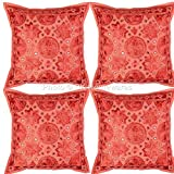 DK Homewares Boho Decorative Pillow Covers 16x16 Rust Mirror Work Embroidered Cotton Square Cushion Covers Set Of 4 40 x 40 cm (16x16 Inch) By