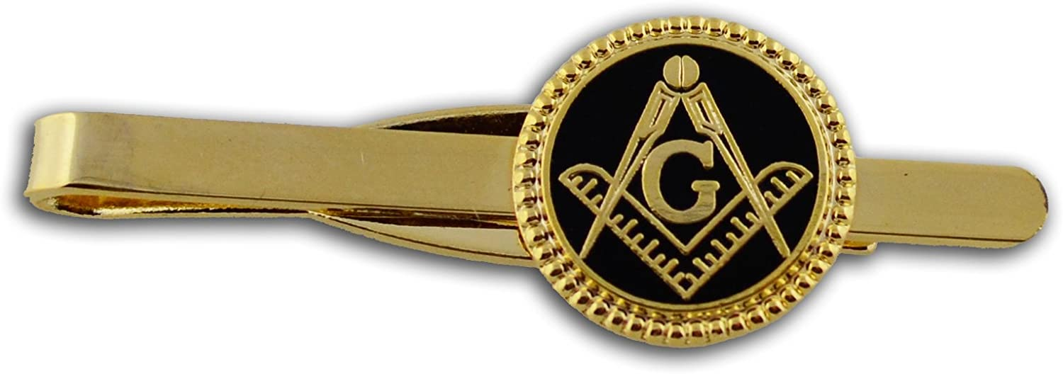 Masonic Lodge Regalia - Masonic Tie Bar / Tie Clip for Free Masons with black enamel weaved circle symbolism with Square and Compass Design (Masonic Symbol)