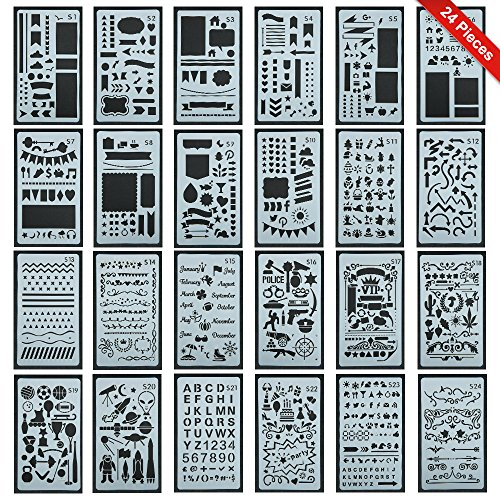 Stencil Doodle (24 Pieces New Design Journal Stencil Set-Over 2400 Different Patterns, Letter Template / DIY Craft / Notebook / Diary, Scrapbooking and DIY Projects Drawing Stencils By Star Sea)