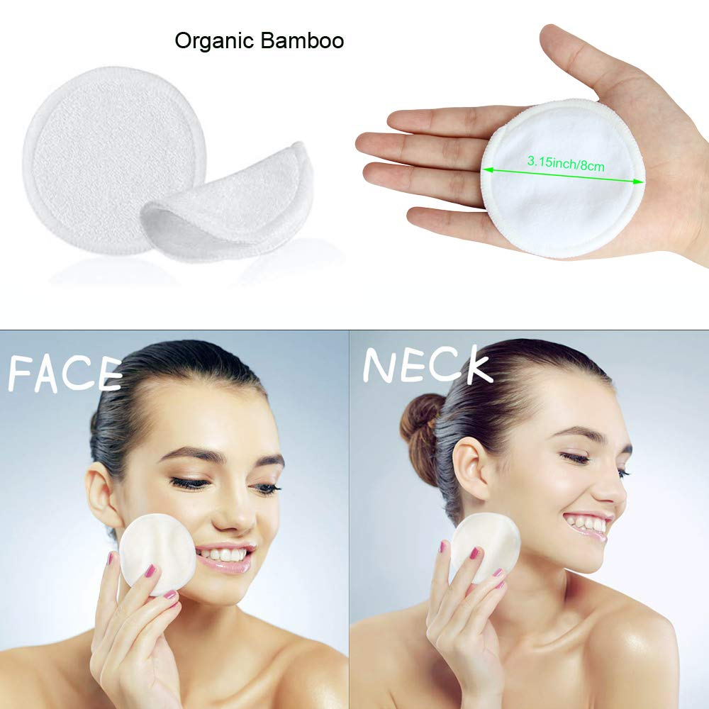 Amazon.com: 16 Pack Reusable Bamboo Makeup Remover Pads with ...