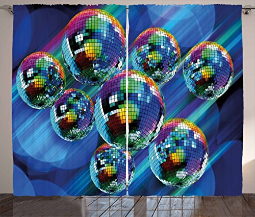 Ambesonne 70s Party Decorations Curtains, Colorful Funky Vibrant Disco Balls Abstract Night Club Dancing Theme, Living Room Bedroom Window Drapes 2 Panel Set, 108 W X 84 L Inches, -