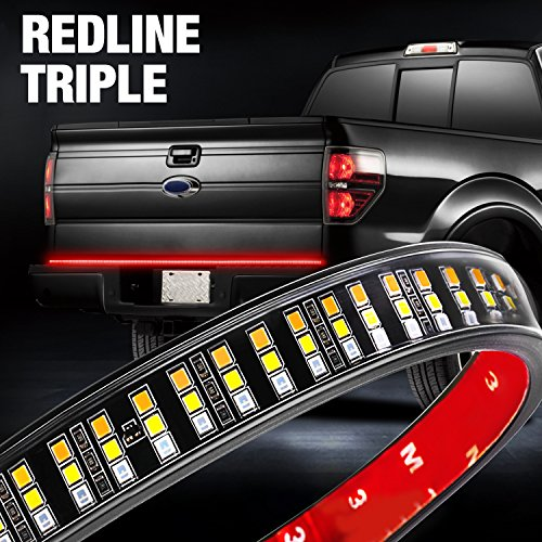 Tailgate Light Bar, DJI 4X4 60'' Triple Row Truck Bed LED Strip with Turn Singal, Brake, Reverse, Double Flash Light, Amber/Red/White for Dodge Ram Chevy Pickup RV VAN- 2 Yr (60' Led Tailgate Bar)