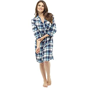 Love To Sleep Women/'s Woven Check 3//4 Sleeve Over The Head Boyfriend Nightshirt