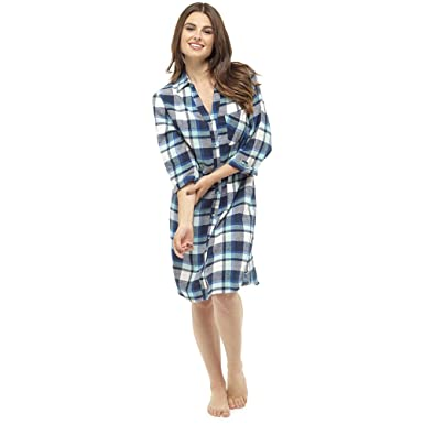 2b5229b029 Get The Trend Womens Brushed Flannel Nightshirt Ladies Check Print Tartan  Nightie Shirt Black Mint