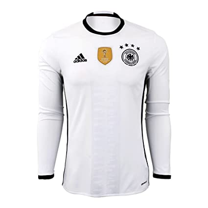 18b49b0be Amazon.com   Adidas Germany Home Long Sleeve Jersey  WHITE BLACK ...