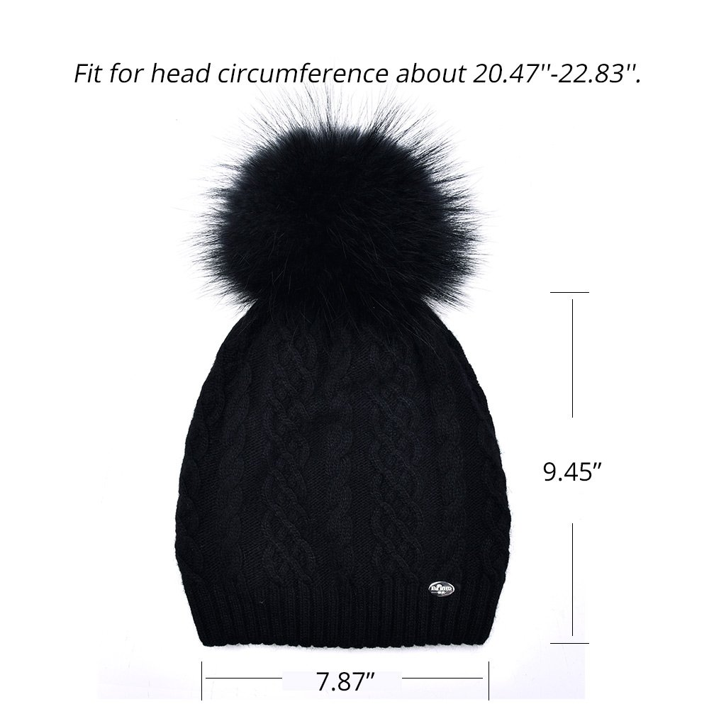 Winter Women Slouchy Beanies Hats Real Fur Pom Pom Cable Knit Hat Ski Caps