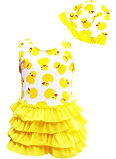 345650ec1cf38 CHUNG Baby Toddler Little Girls Duck Printed One Piece Swimsuit with Hat 1 -5Y