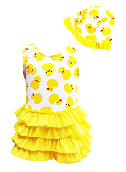 d9900e2abf8 CHUNG Baby Toddler Little Girls Duck Printed One Piece Swimsuit with Hat