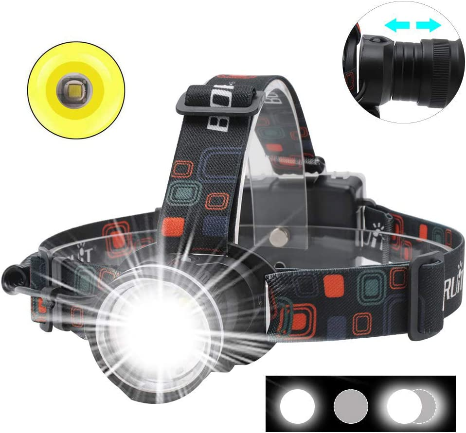 60000 LM 1x Q5 LED Red Laser 18650 Zoomable Headlight Head Lamp Torch Led AT
