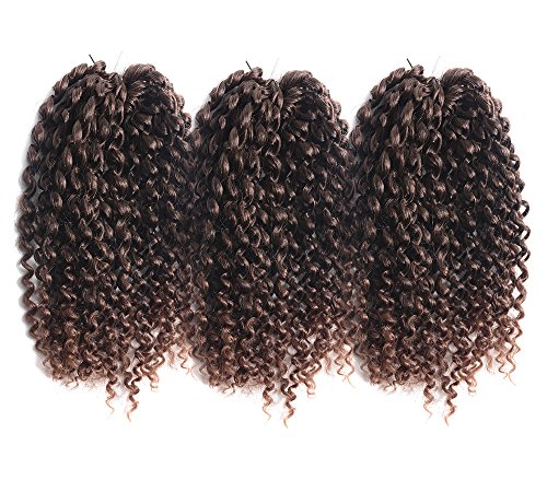 "Price comparison product image UNA 9"" Premium Marlybob Kinky Curl Crochet Hair (24Root/Bundle)Brazilian Jerry Curl Braid Crochet Braids Afro Kinky Hair Extension For Women(3Pcs, T4-30)"