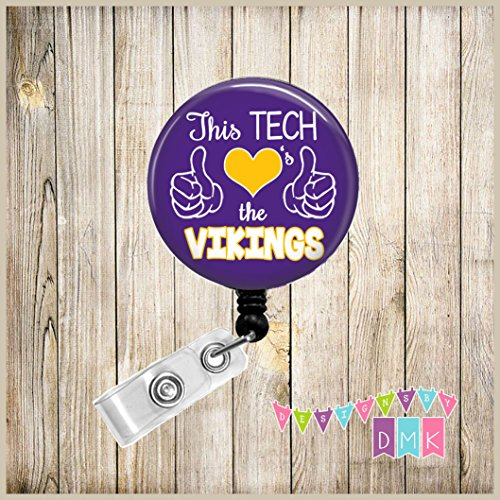 - This TECH Loves the VIKINGS - Purple & Yellow - School Spirit - Button Badge Reel
