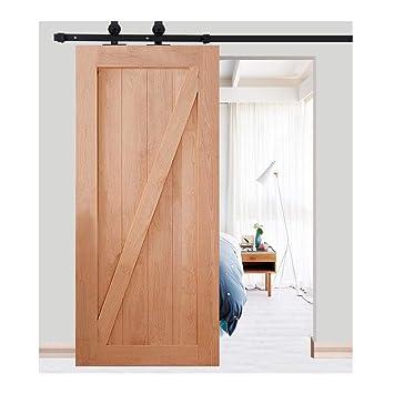 Kit de guía para puerta corredera en hierro Polea de Rail suspendida sistema de puerta intérieures granero armario cuarto de baño 183 cm/200 cm negro: ...
