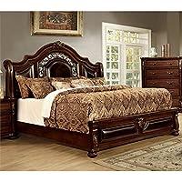Furniture of America Lacresha California King Bed in Brown Cherry